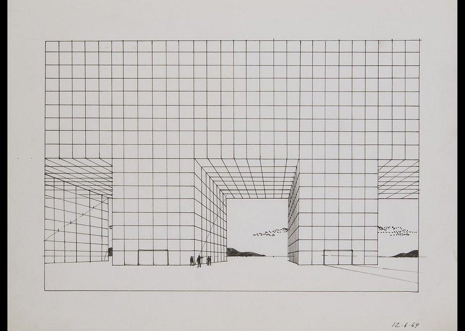 Adolfo Natalilni (Superstudio), Study for the Continuous Monument, 1969.