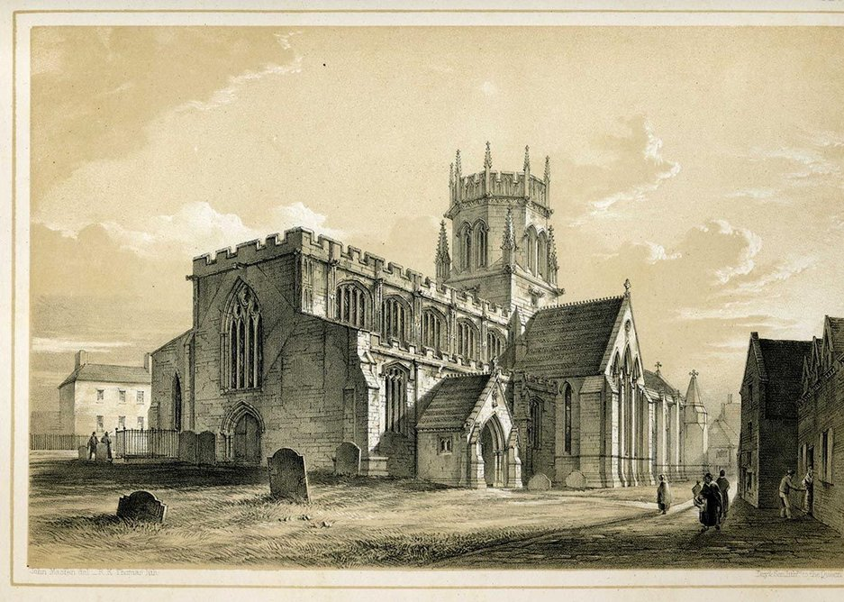 St Mary's Stafford, Scott's first important restoration: some rebuilding and replacement while leaving the perpendicular clerestory and battlements.
