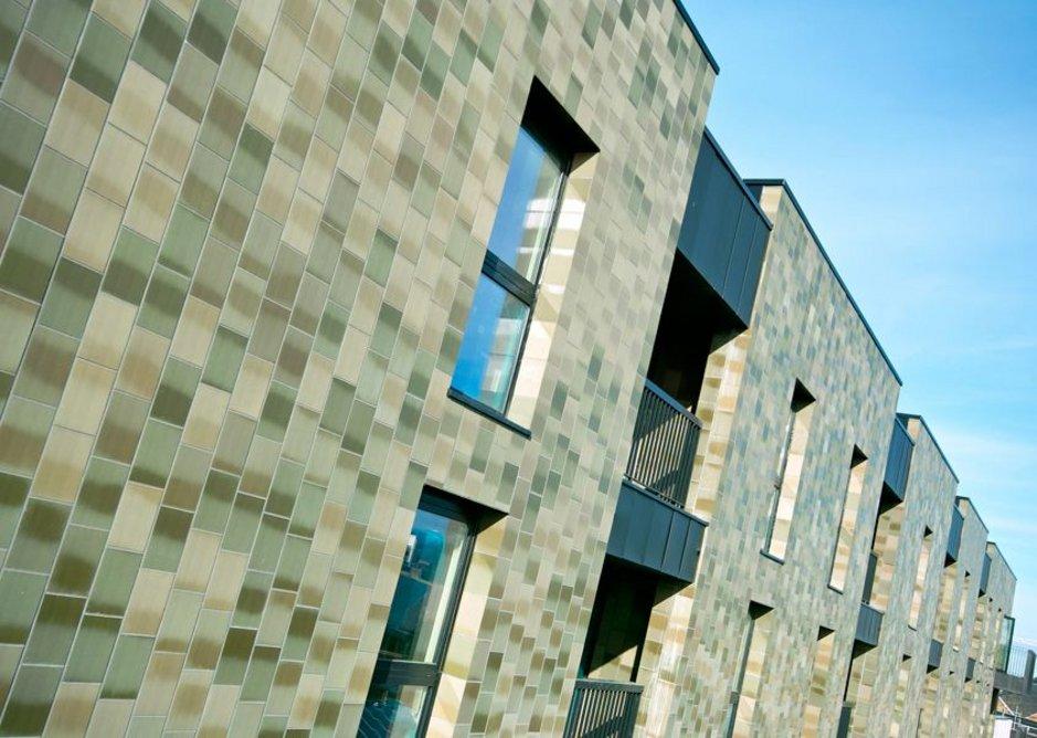 Upper level residential building green tiling