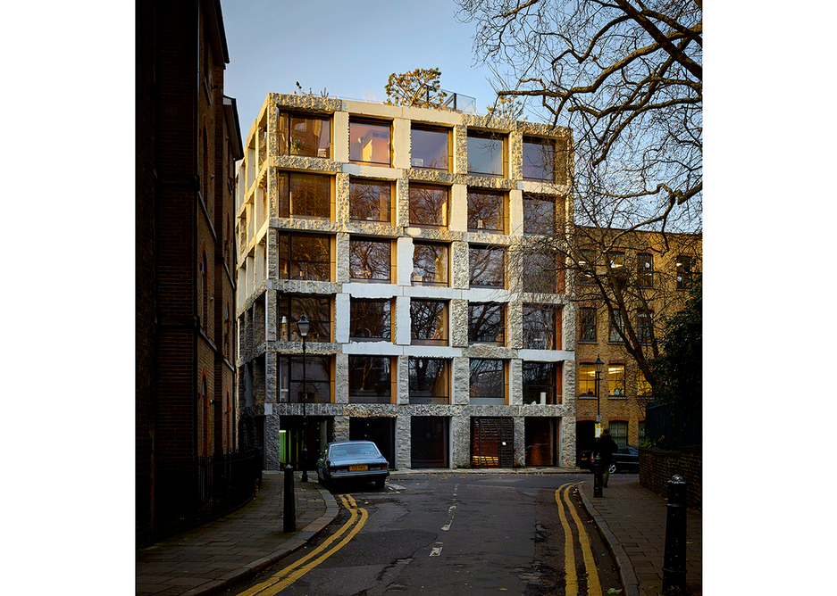 The remarkable self supporting stone facade at Groupwork + Amin Taha's 15 Clerkenwell Close, as engineered by Webb Yates.