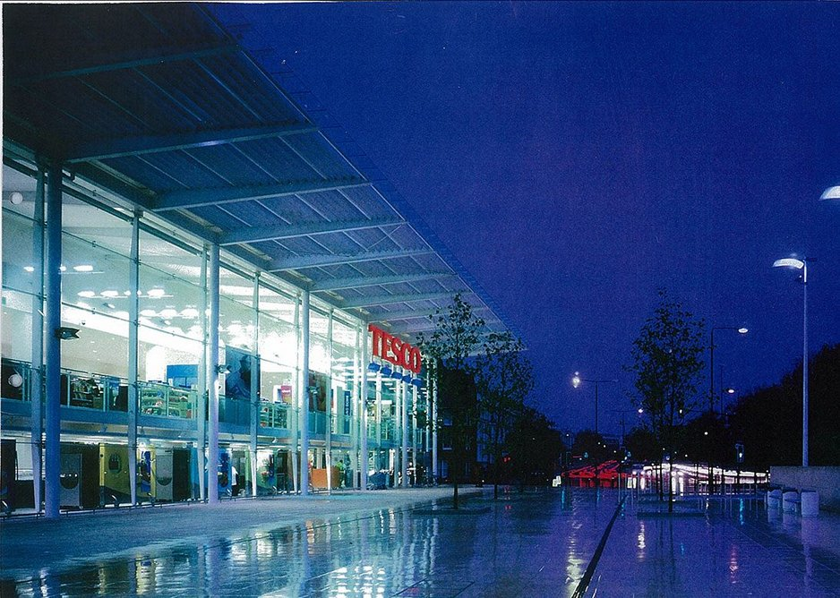 Bright sight on a wet night in Cromwell Road, London  - an award winner for Tesco.  Credit Dennis Gilbert