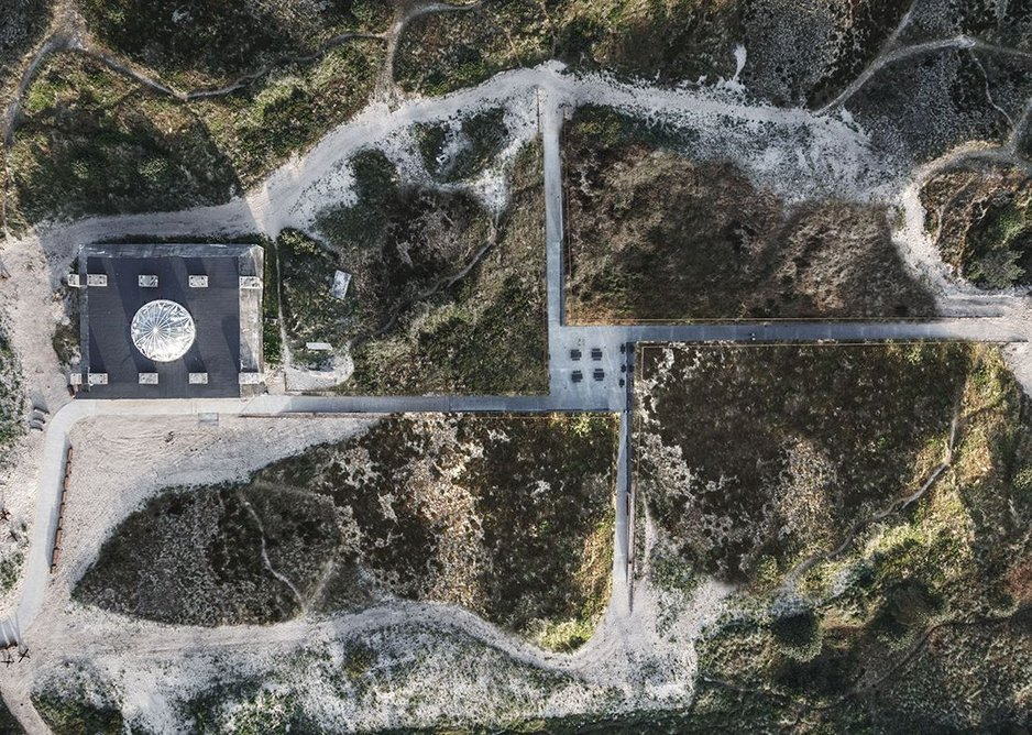 Aerial view, showing the relationship of the subterranean museum to the WWII bunker.