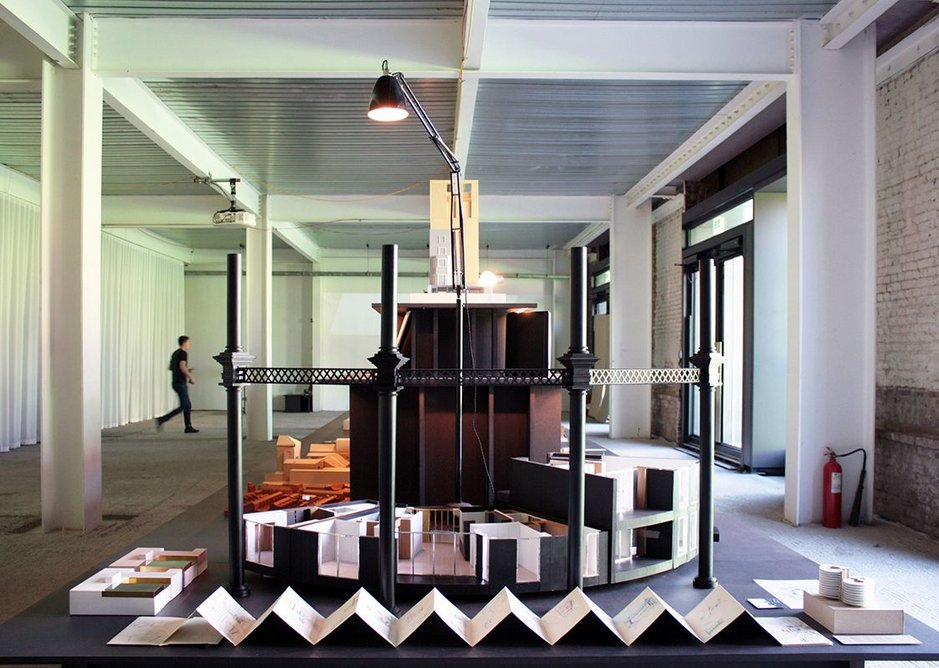 In the foreground is Jonathan Tuckey Design's interior scheme for the residential conversion of three gasholders at King's Cross.