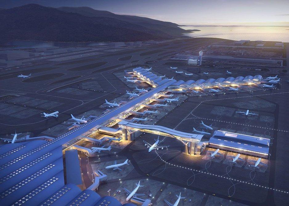 Wilkinson Eyre's Skybridge at Hong Kong International Airport.