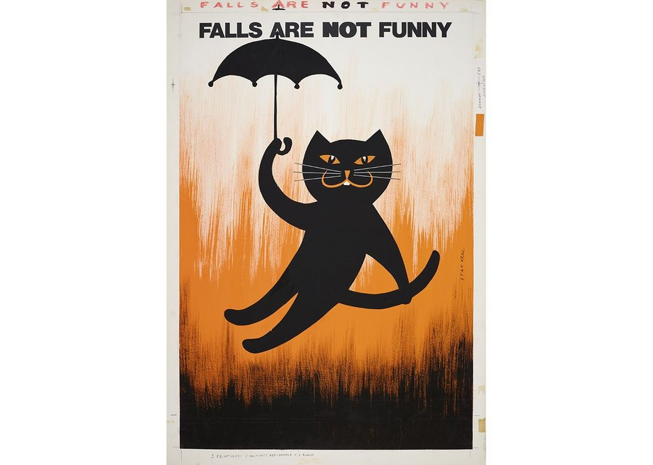 Falls Are Not Funny poster designed by Stan Krol, courtesy of The Royal Society for the Prevention of Accidents.
