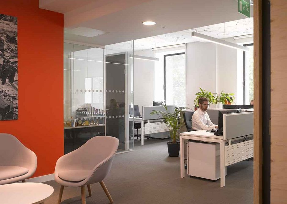 Primarily open plan with the subtle hierachy of a commanding position coupled with meeting room at the entrance to each floor.