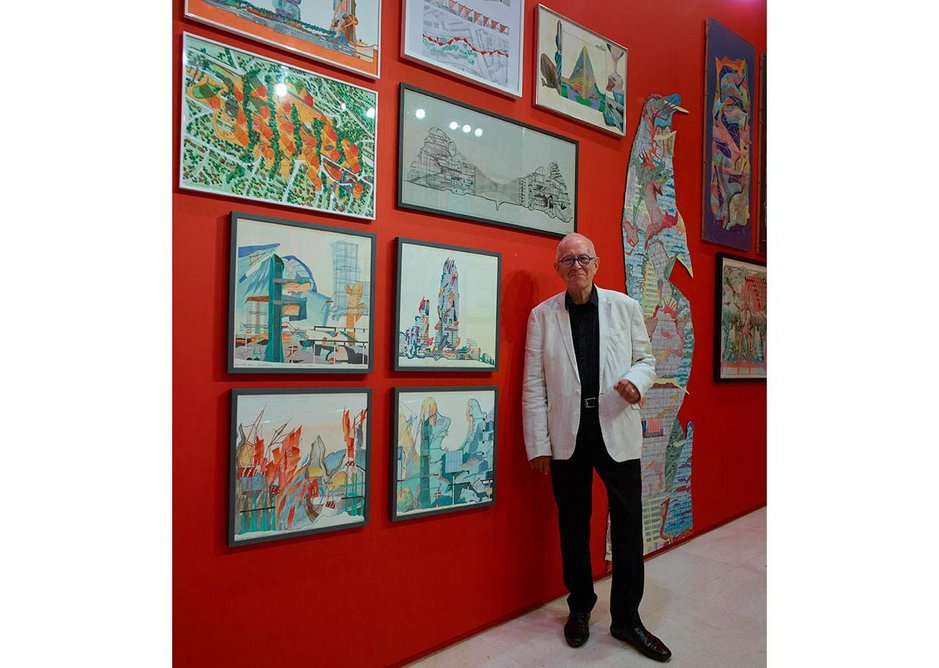 Peter Cook at the Floating Ideas exhibition of work submitted to the Summer Exhibition over 50 years, staged to celebrate his 80th birthday. Stephen White
