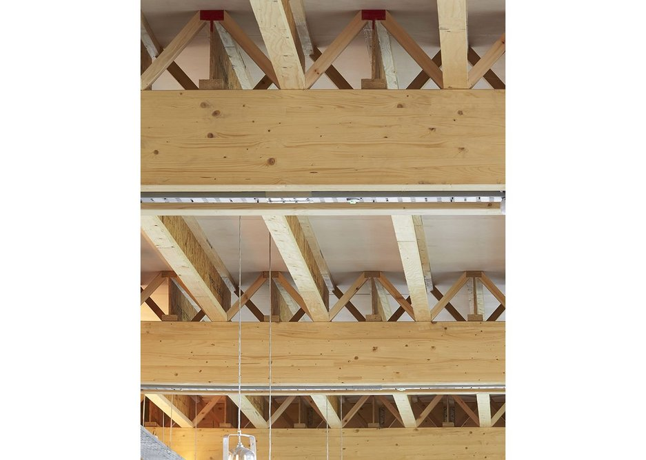 Secondary structure of lightweight timber I-beams.