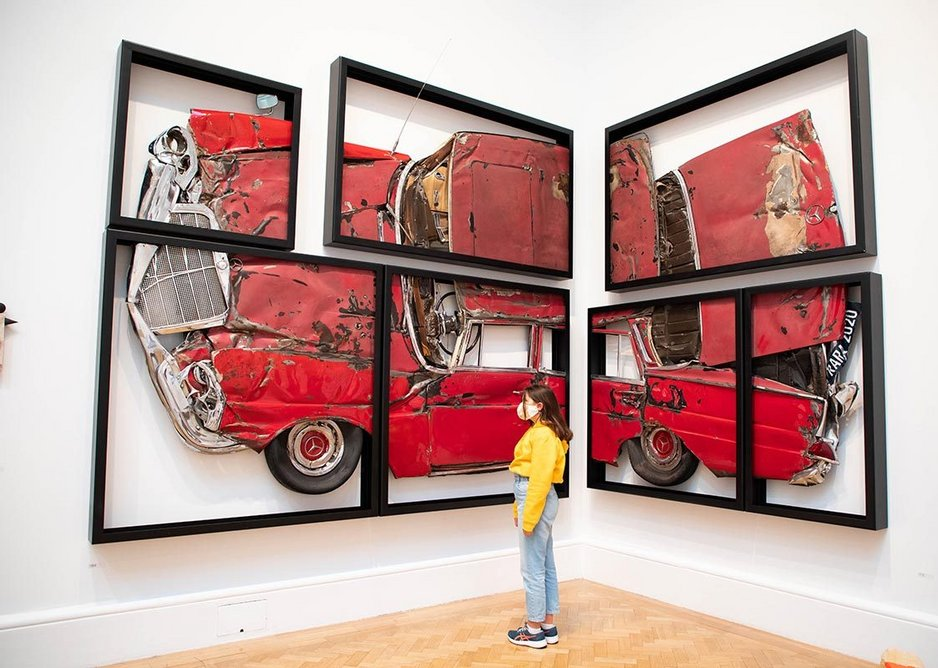 Installation view of the Summer Exhibition 2020 showing Oh Lord, Won't You Buy Me by Ron Arad RA.