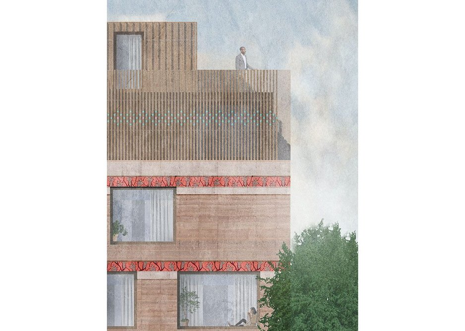 ArchitectureDoingPlace, elevation for Philpot Street, Whitechapel, 2019. Feasibility study for the UK's first rammed-earth social housing. Decorative motif pattern contributed by Seyi Adewole.