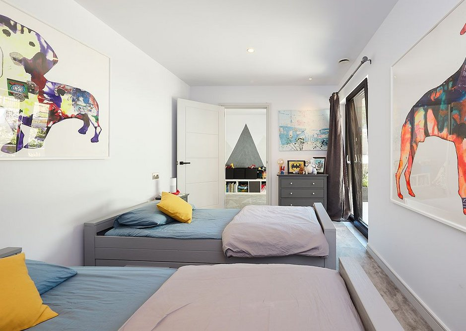 One of the children's bedrooms. The house is designed around their allergy needs to improve asthma symptoms.