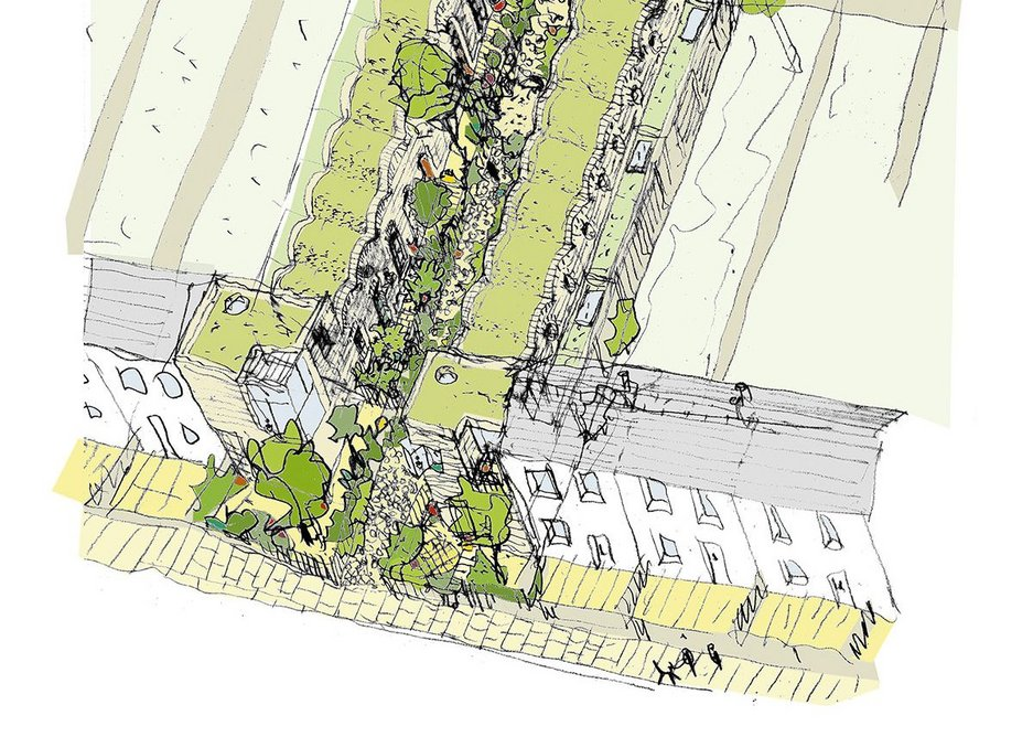 Barber aerial sketch shows relationship of terraces to the garages behind.