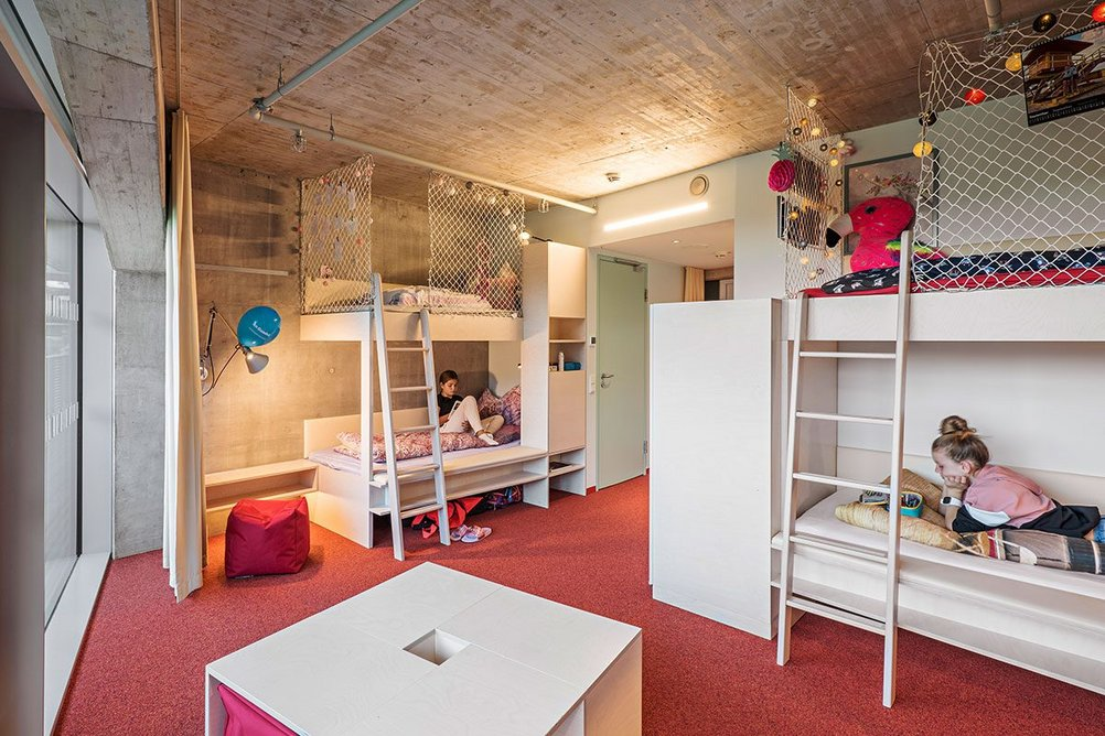 Children sleep in two- to four-bed rooms in the ski secondary school.