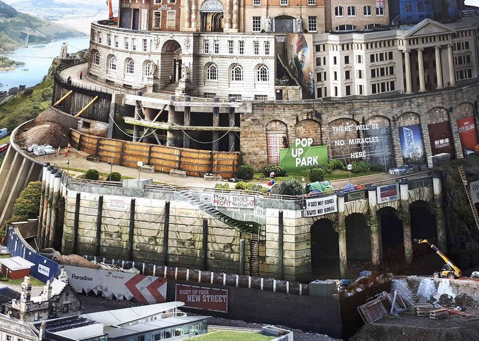 The UK isolated and divided - detail of Babel Britain by Emily Allchurch in the general show.