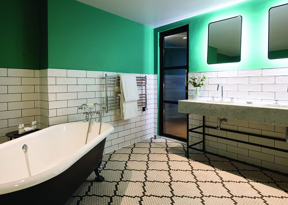Victoriana meets 70s nightclub in the bathroom spaces.