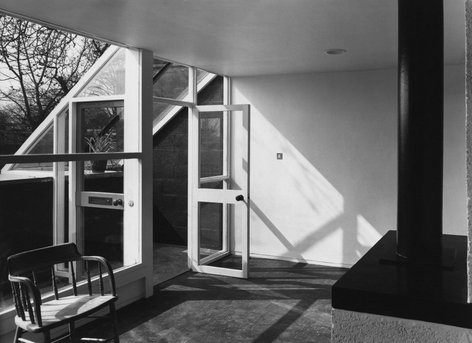 Living/dining room at Vanburgh Park housing in south London, designed by Chamberlin Powell and Bon, 1965