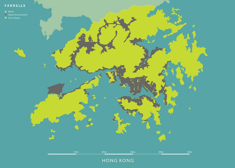 The HK office of Farrells produced these comparison diagrams of built and green space in Hong Kong and London. Both are 50km across, to the same scale.
