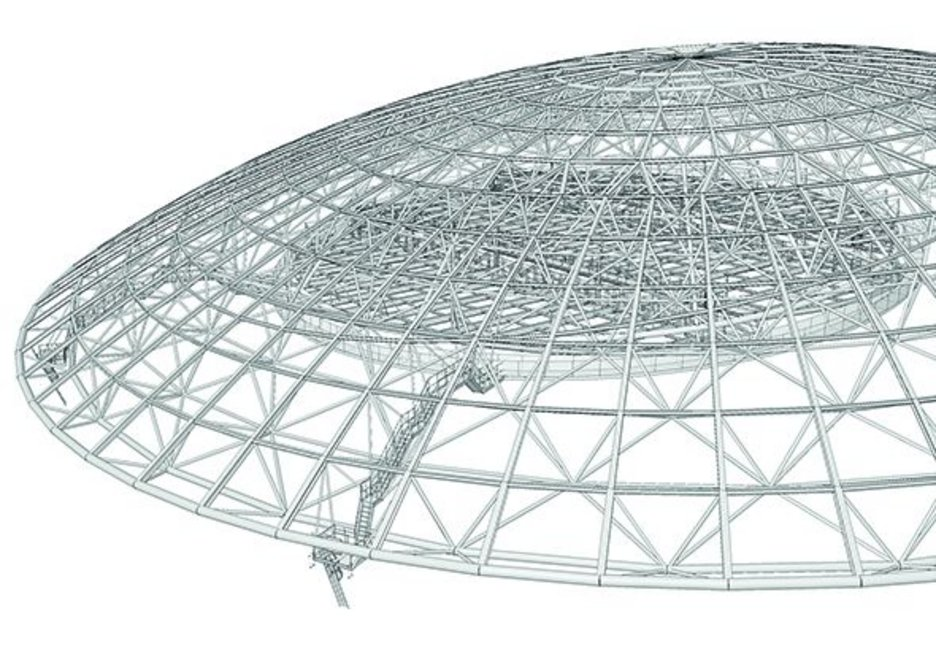Lighting is mounted on a 55mm diameter rig that is offset from the dome's apex. 21m above the stage.