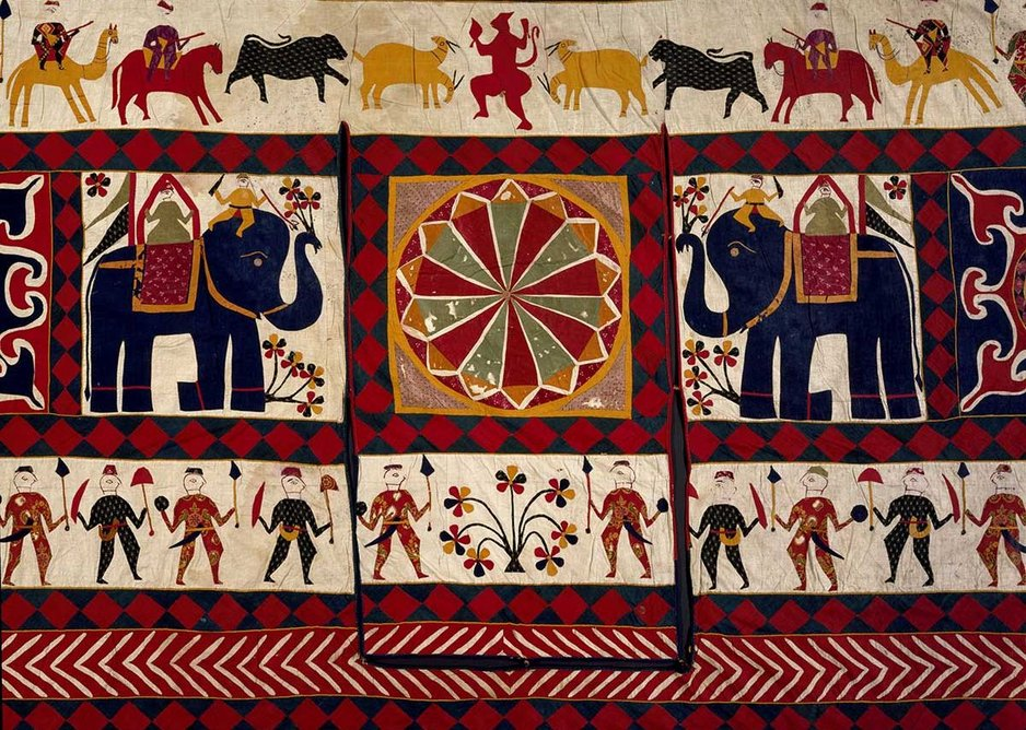 Wall hanging detail cotton appliqué Gujarat 20th century.