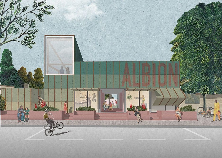 IF_DO's design for Albion Street, a community hub in Rotherhithe, commissioned by Meanwhile Space CIC and Southwark Council.