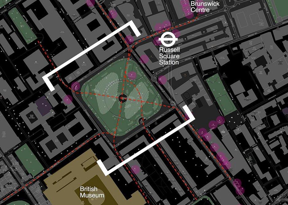 Casper Mueller Kneer's night site plan for Russell Square.