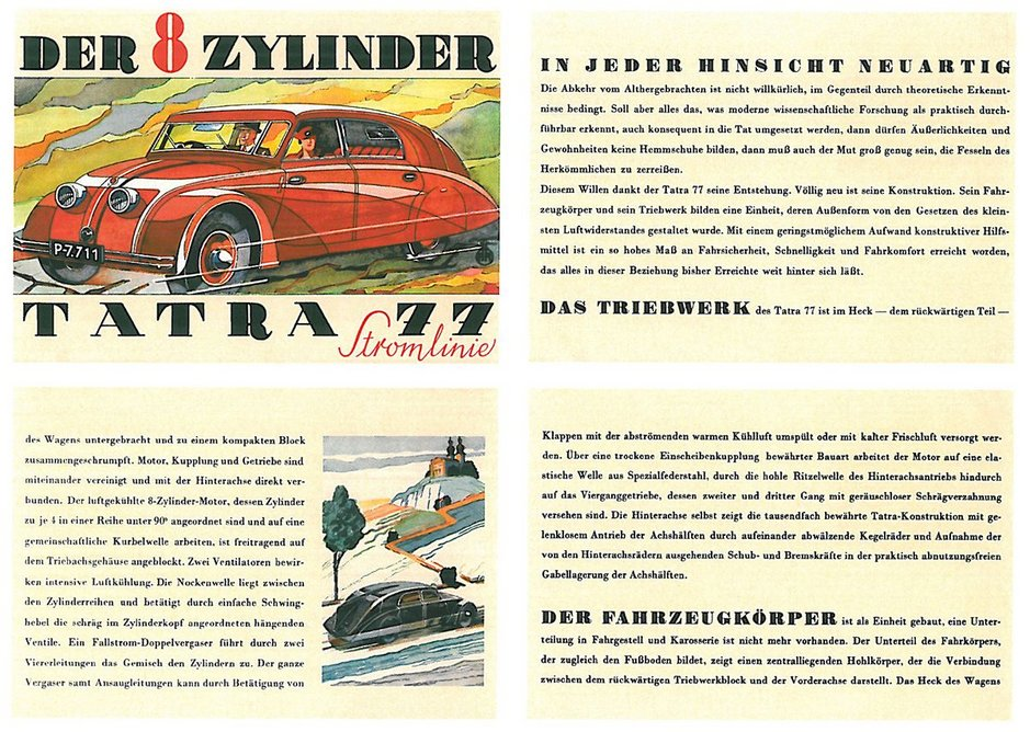 1934 brochure artwork – though watch out for that V8 rear engine on slippery bends.