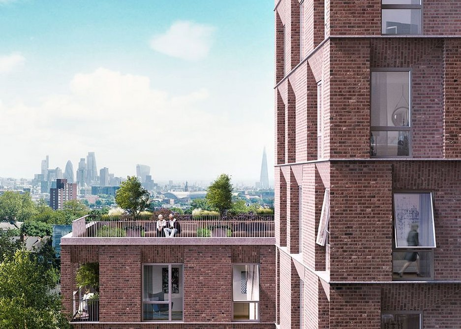 The upper storeys have extensive views onto London to the south.