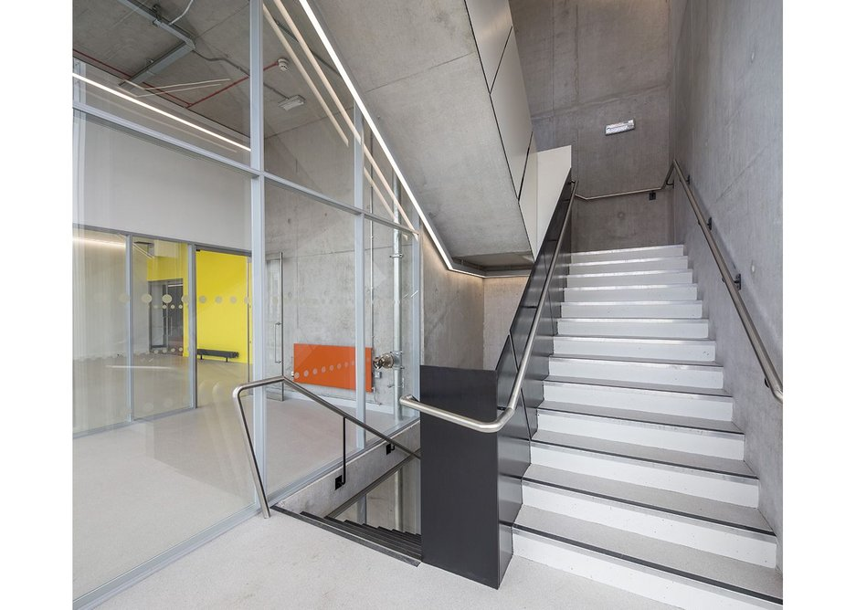 A 3x3m, four tonne lift is used for plant and tools. But there are stairs for human traffic.