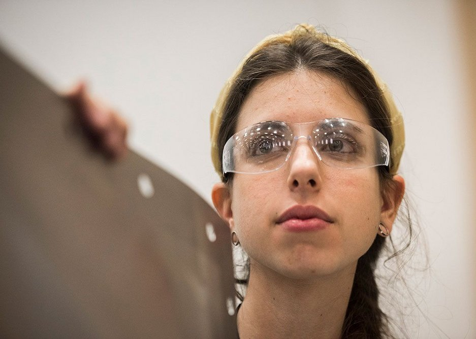 Researcher Christina Garza Lasierra at UCL's Here East research and testing facilities.