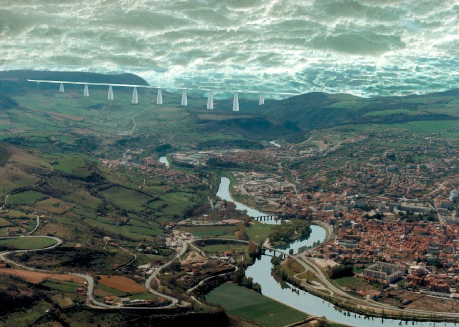 Millau Viaduct, The Three Bridges, Jacques Hondelatte, 1994. Computer drawing courtesy of the estate of the artist and Betts Project