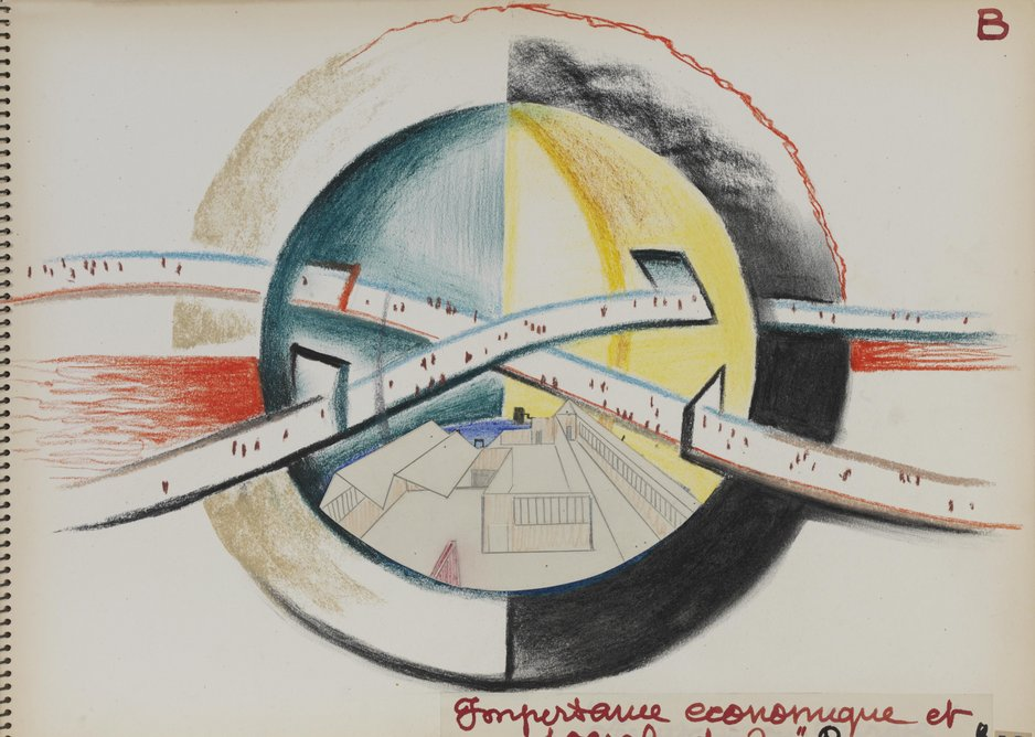 René Herbst, study from a sketchbook for the design of an exhibition, the 'Exposition Internationale de la Rayonne', 1950.