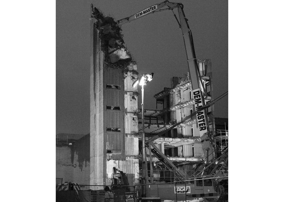 Newbery Tower during demolition.