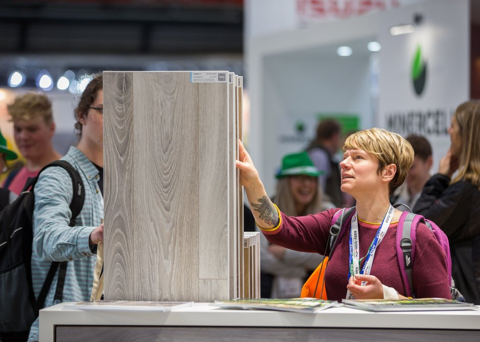 Visitors checking out new products on one of the stands at the Surface Materials Show 2017.