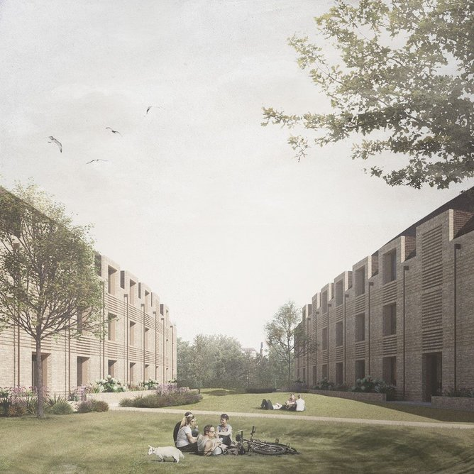 The Passivehaus Croft Gardens student accommodation for King's College Cambridge is designed by FCB Studios to last 100 years. A CLT structure and timber lining should sequester a substantial amount of carbon allowing it to be carbon negative for the first 7-10 years of operation.