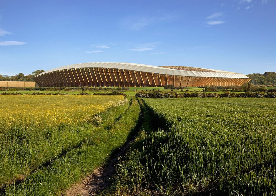Forest Green Rovers' timber stadium structure designed by ZHA. Render by MIR