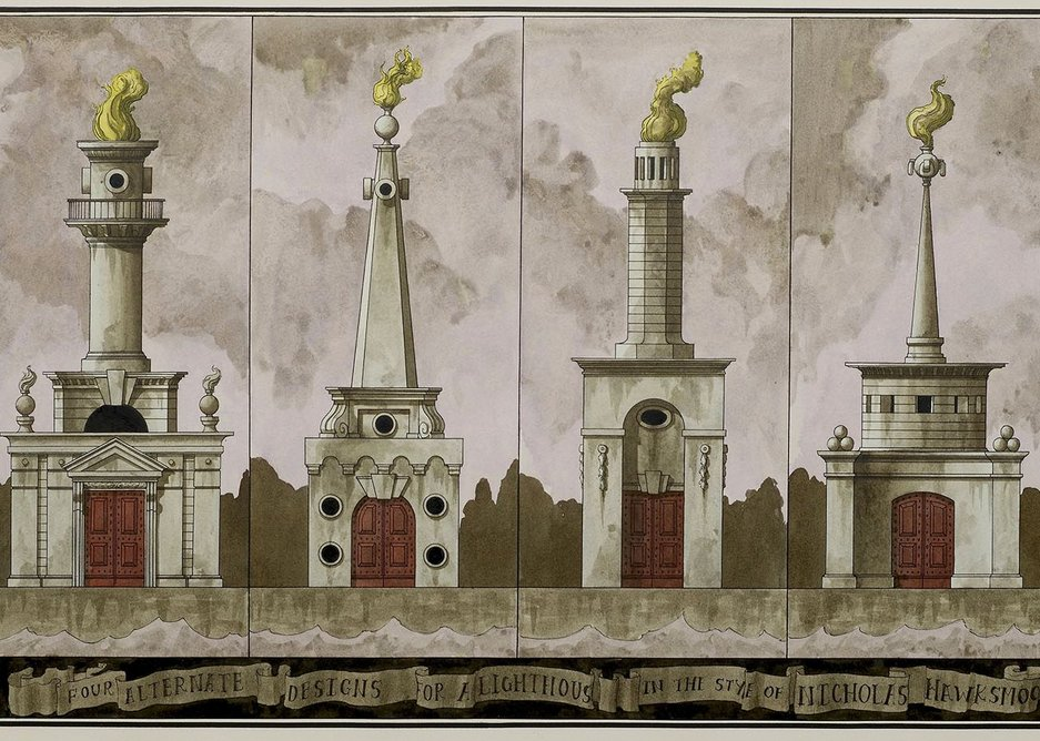 Pablo Bronstein, 4 Alternate Designs for Lighthouse, 2013.