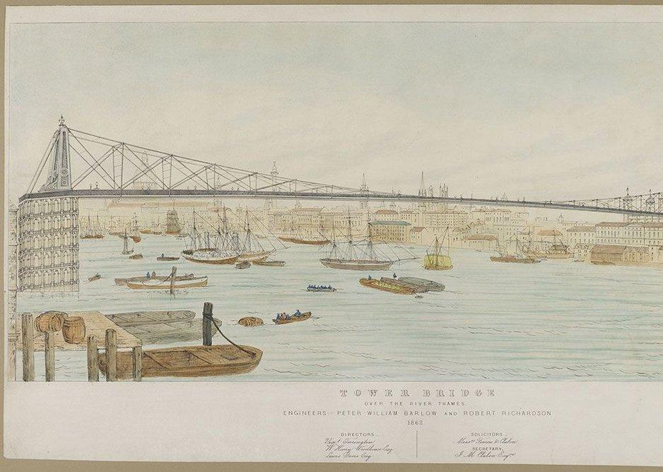 Peter Barlow and Robert Richardson's Tower Bridge design from 1862. © London Metropolitan Archives (City of London).