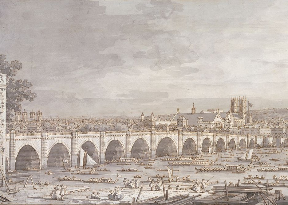 Canaletto, London Westminster Bridge with a procession of civic barges.