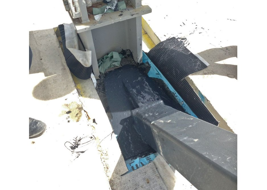 A cold-applied membrane was used around the cross-bracing connection. This is cheaper than a pitch pocket and much simpler to apply in a tight area.