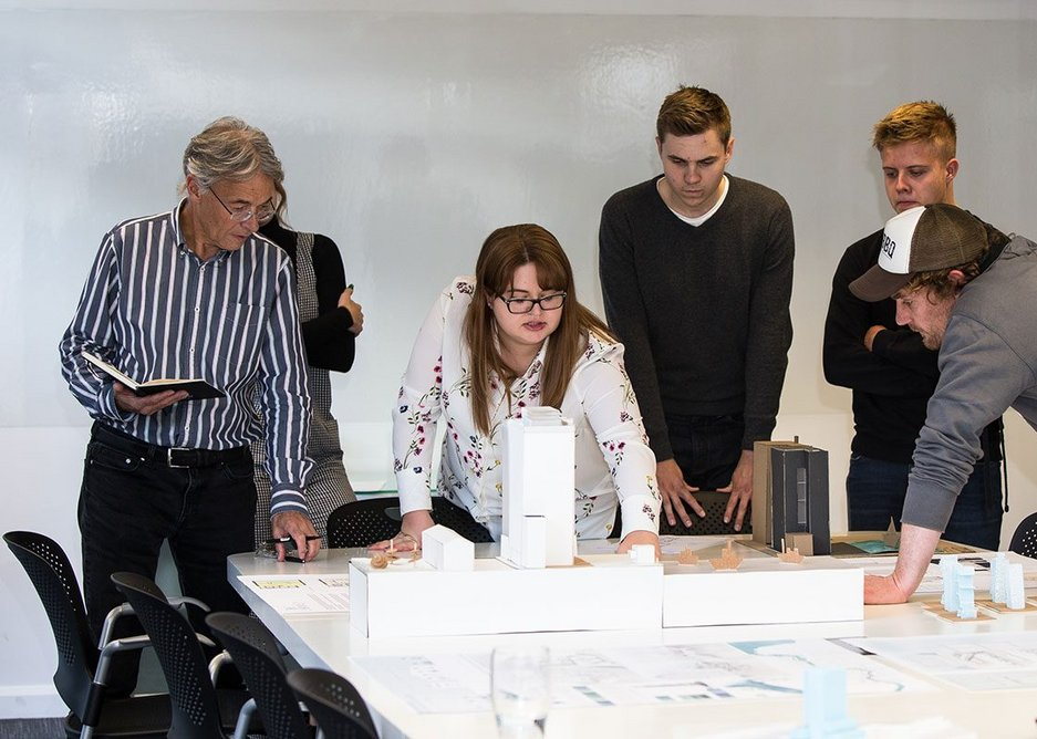 Peter Buchan with a team at Ryder Architecture in Cooper's Studios, Newcastle, before social distancing measures were introduced.
