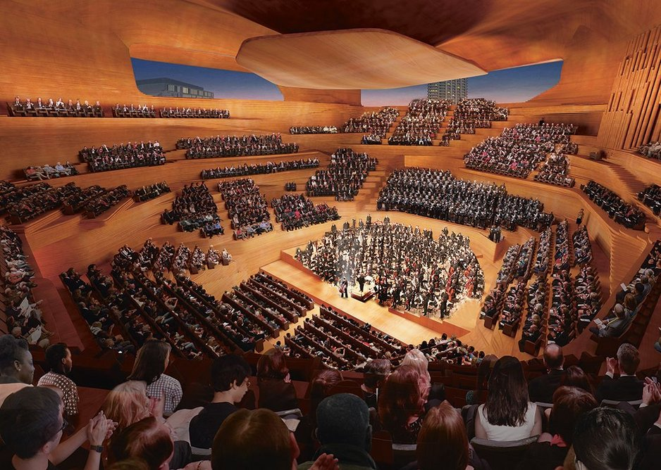 Many possibilities are being explored in the design of the concert hall of the Centre for Music, London.
