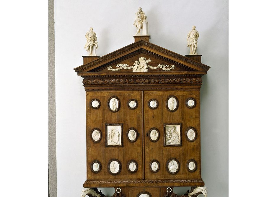 Cabinet of miniatures and enamels, designed by Horace Walpole, perhaps with William Kent, 1743. Perhaps made by William Hallett. Carving by James Verskovis and Giovanni Battista Pozzo and anonymous hands, 1743.