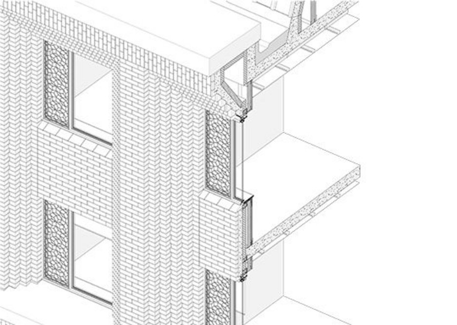 How they made it - exploded axonometric of facade detail.