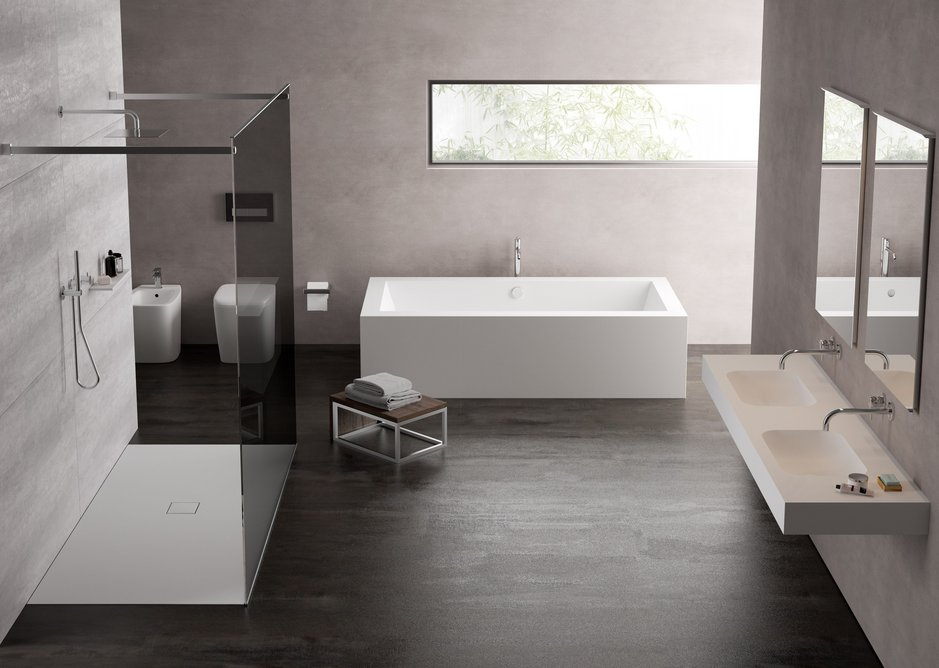 New shower trays and baths join the existing Hi-Macs bathroom basin collection.
