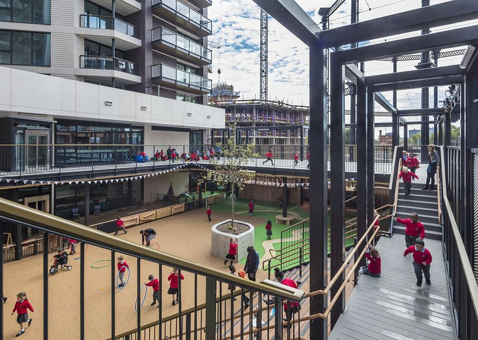 The multi-level pergola around the playground.
