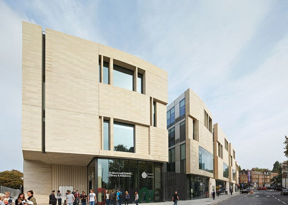 The rhythm of the plan's wide then narrow sections is demonstrated in the massing and materials of the Stockwell Street facade.