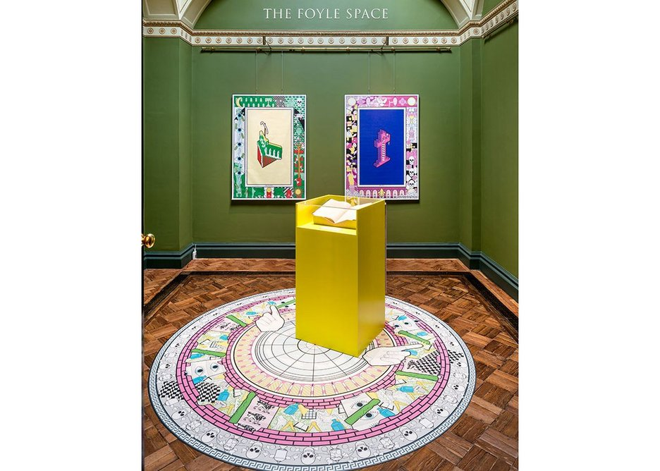 Out of Character installation in The Foyle Space, with the original Crude Hints text and representations of the four characters of The Architect, Monk, Lawyer and Magician imagined to have inhabited the house.