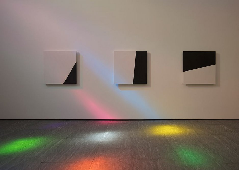 Looking west at Ellsworth Kelly, Austin towards the black and white marble panels.