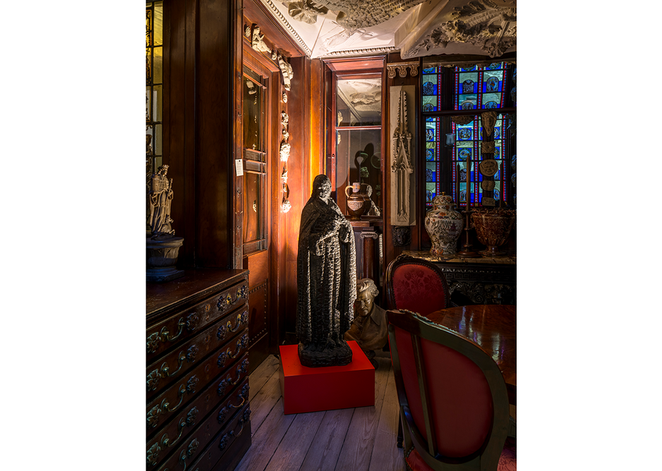 Installation view in the Monk's Parlour showing Burnt Madonna, 1985, from Langlands & Bell - Degrees of Truth at Sir John Soane's Museum. Artists' collection.