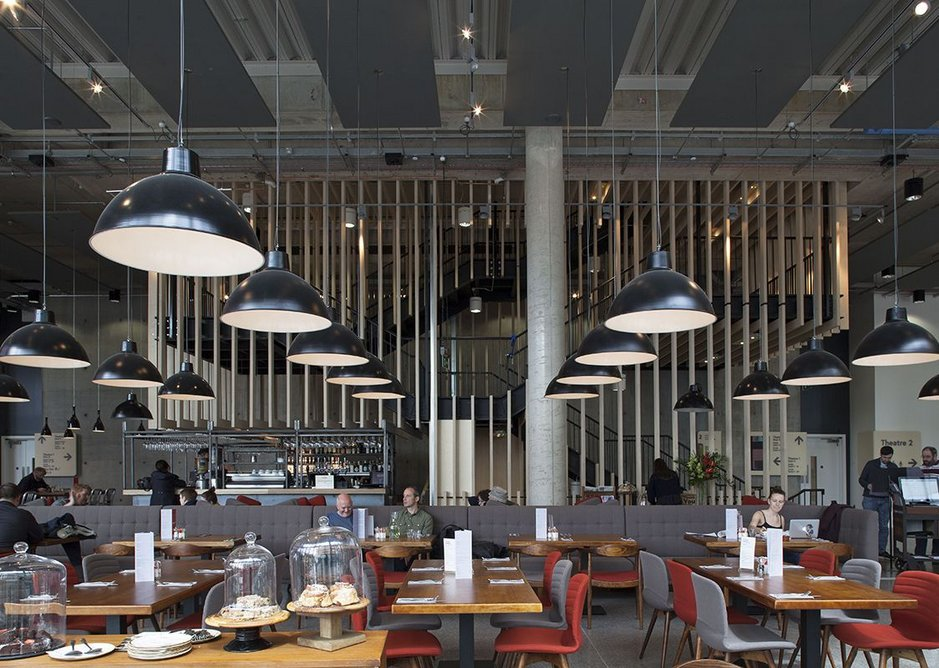 Restaurant first floor, G-plan sideboards and dark timber make even this large space surprisingly 'homely'
